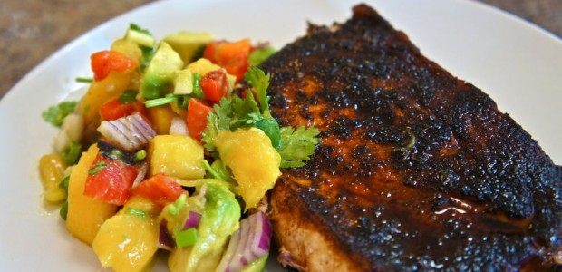 Blackened Swordfish with Mango Avocado Salsa